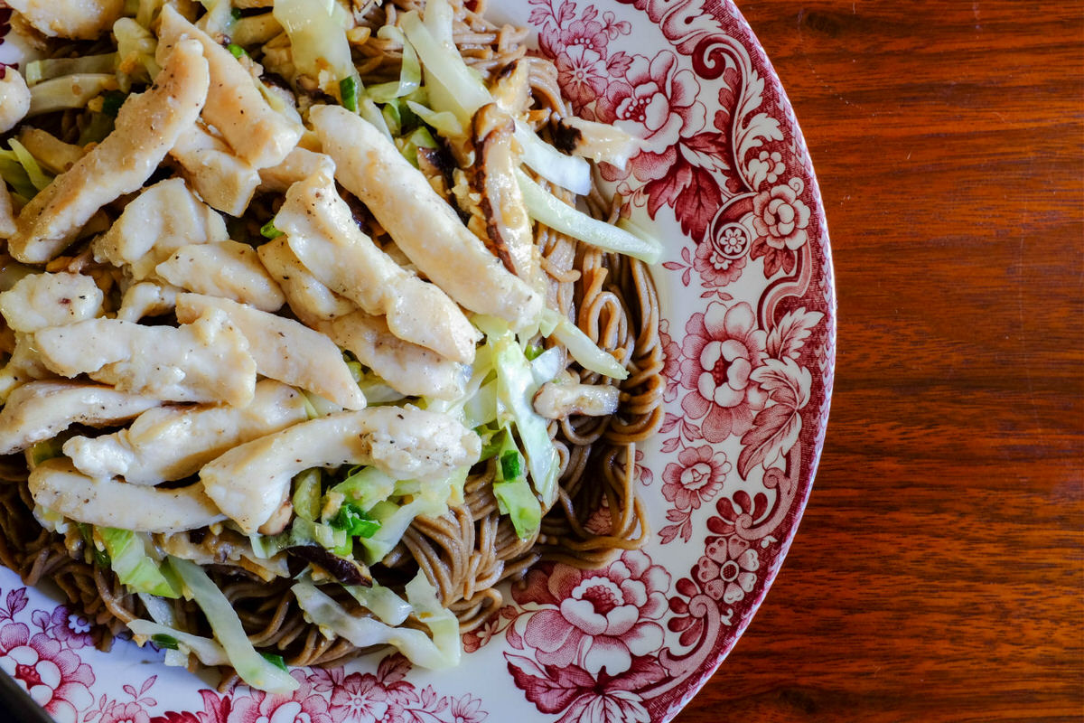 Chicken and Shiitake Mushrooms Soba Noodles