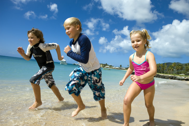Kids at Curtain Bluff in the Caribbean